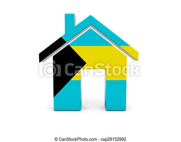 Home with flag of bahamas - csp28152992