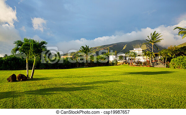 Home with large green lawn - csp19987657