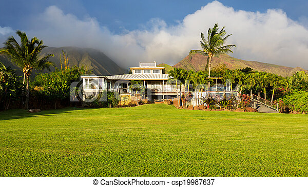 Home with large green lawn - csp19987637