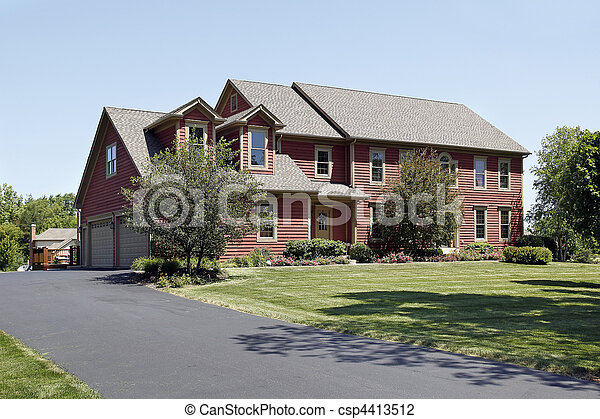 Home with red siding - csp4413512