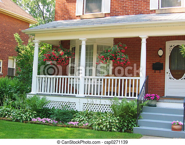 Stock Photographs of Home with veranda - Victorian style home with ...