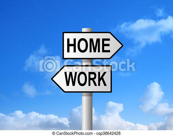 Home Work Signpost - csp38642428