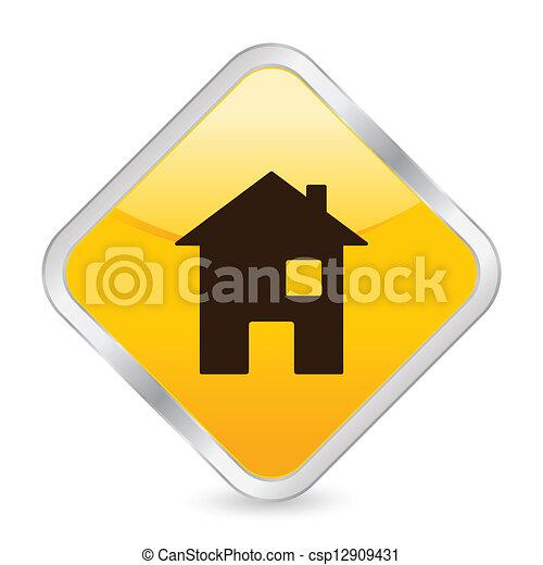home yellow square icon - csp12909431