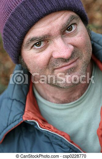 Homeless Man - Closeup Portrait - csp0228770