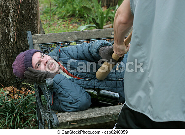 Homeless Man - Self Defense - csp0240059