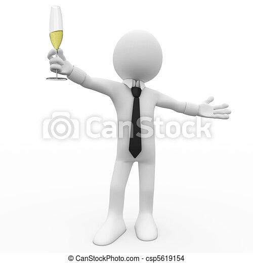 homem, brinde, fazer - csp5619154
