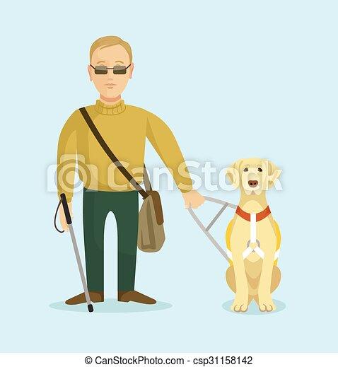 homem cego, cão, guia - csp31158142