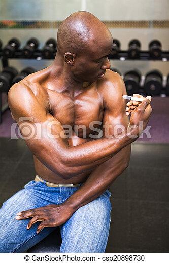 homem, injetar, muscular, esteróides - csp20898730