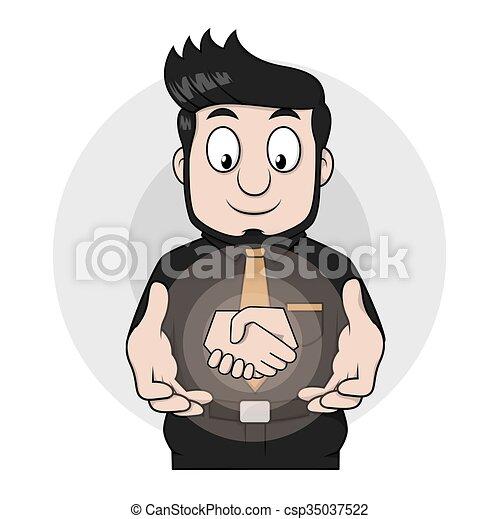 homem, mão, negócio, abanar - csp35037522