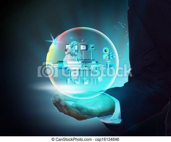 homem, mão, negócio, serviço, empresa - csp16134846