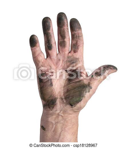 homem, mãos, sujo - csp18128967