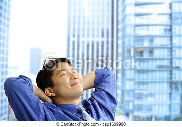 homem negócios, asiático, descansar - csp1639930