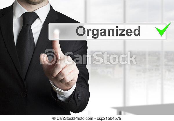 homem negócios, botão empurra, organizado - csp21584579