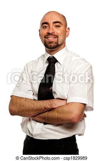 homem negócios, branca, isolado, fundo - csp1829989