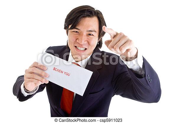 homem negócios, câmera, zangado, parafuso, tu, apontar, asiático - csp5911023