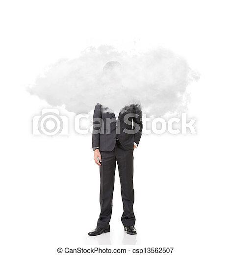 homem negócios, cabeça, nuvens - csp13562507