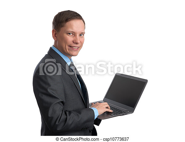 homem negócios, computador laptop, isolado, branca - csp10773637