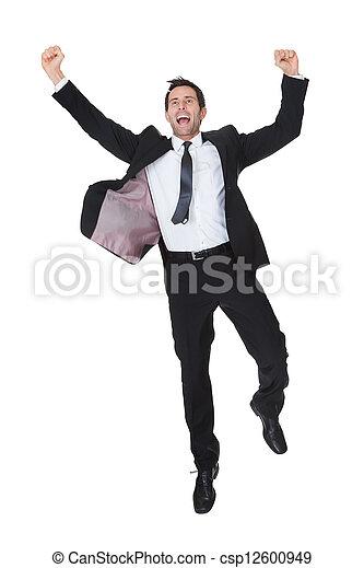 homem negócios, excitado, sucesso, celebração - csp12600949