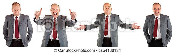 homem negócios, expressões, útil, cobrança - csp4188134