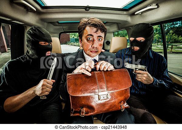 homem negócios, hostages., agarrado - csp21443948