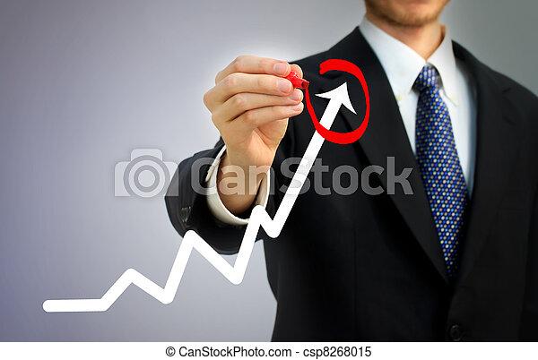 homem negócios, levantar, circundar, seta - csp8268015