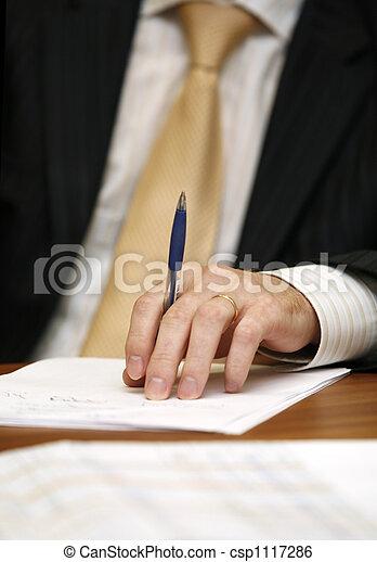 homem negócios, mão - csp1117286