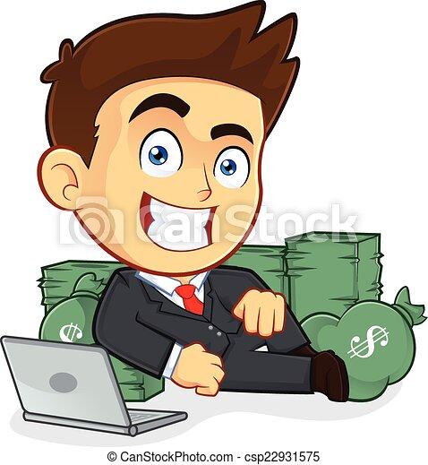 homem negócios, mentira, dinheiro, ricos, ao redor - csp22931575