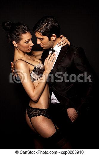 homem negócios, mulher, langerie, excitado - csp8283910