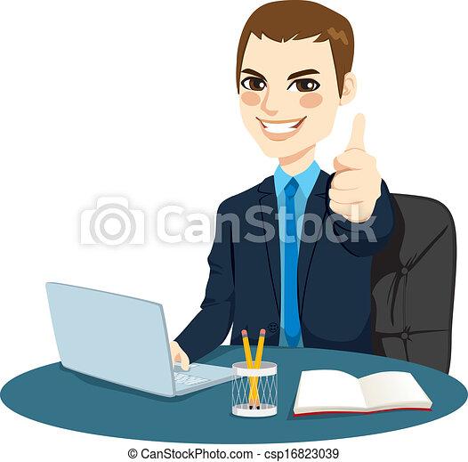 homem negócios, polegares cima - csp16823039