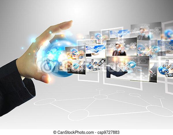 homem negócios, .technology, conceito, segurando, mundo - csp9727883