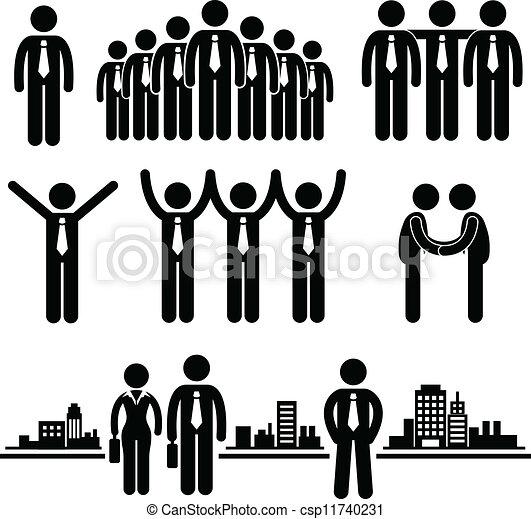 homem negócios, trabalhador, negócio, grupo - csp11740231