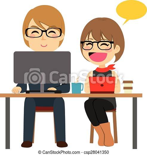 homem negócios, trabalhando, secretária - csp28041350