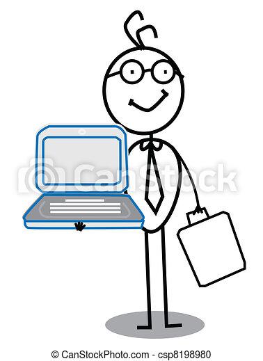 homem negócios, vetorial, caderno, & - csp8198980
