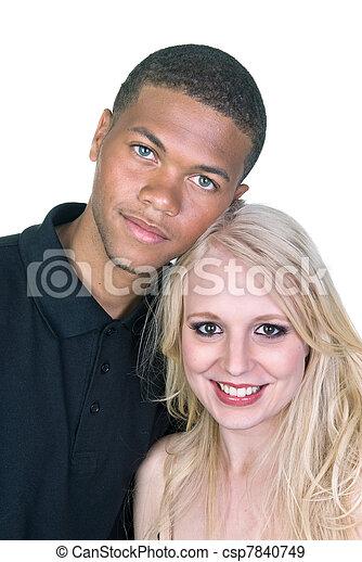 homem preto, branca, mulher, amor, par - csp7840749