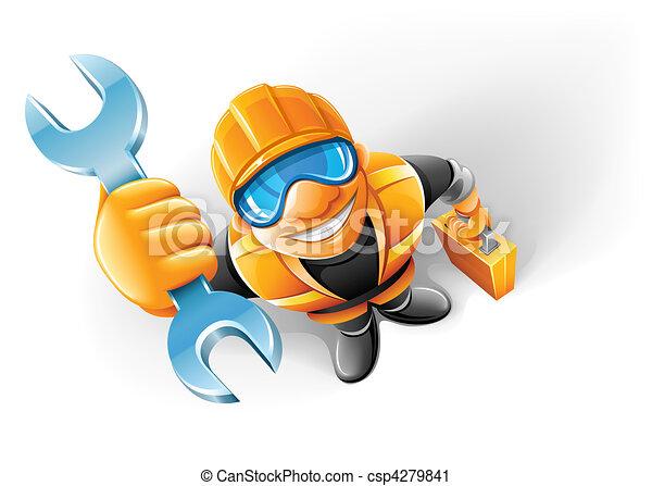 homem, trabalhador, tecla, serviço, braço - csp4279841