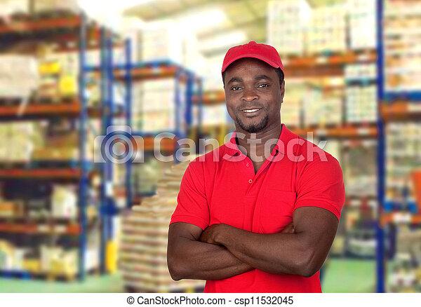 homem, trabalhador, uniforme vermelho - csp11532045