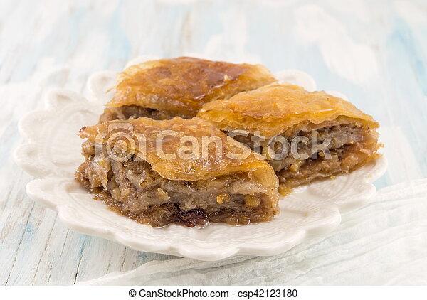 Homemade baklava dessert on a plate - csp42123180
