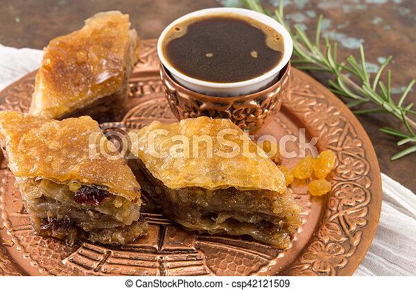 Homemade baklava dessert on a plate - csp42121509