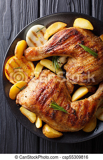 Homemade Bbq Grilled Chicken Legs With Orange Lemon Onions
