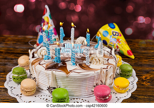 Excellent Homemade Birthday Cake With Lots Of Burning Candles And Holiday Funny Birthday Cards Online Alyptdamsfinfo