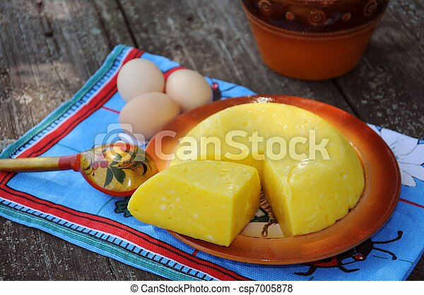 Homemade cheese on a plate - csp7005878