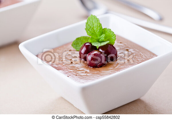 Homemade Chocolate Mousse Cup - csp55842802