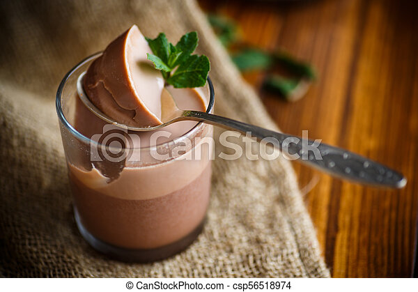 homemade chocolate mousse - csp56518974