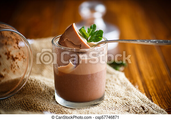 homemade chocolate mousse - csp57746871