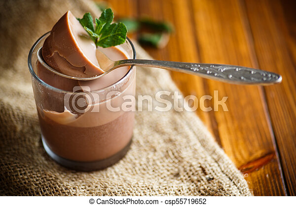 homemade chocolate mousse - csp55719652