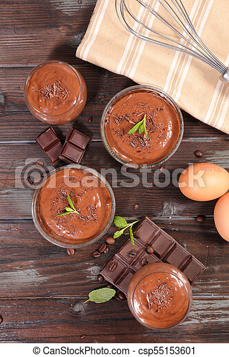 homemade chocolate mousse - csp55153601
