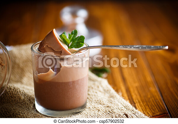 homemade chocolate mousse - csp57902532