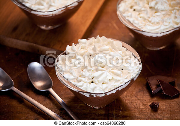 Homemade Chocolate Mousse With Whipped Cream - csp64066280