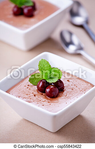 Homemade Chocolate Pudding Cups - csp55843422