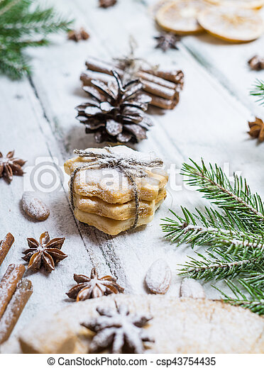 Homemade cookies, dried oranges, anise stars - csp43754435